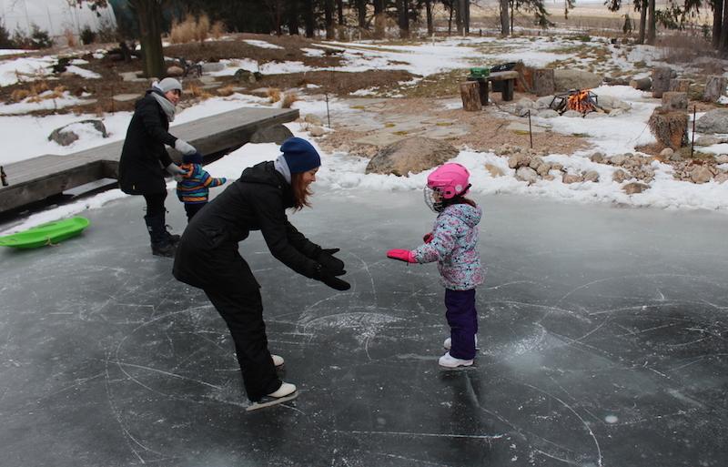 skating on pond